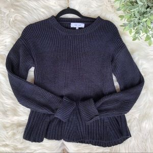 Anthropologie Navy Blue Ribbed Chunky Sweater